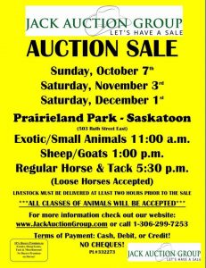 Jack Auction Group Saskatoon exotic horse sheep goat tack sale poster