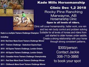 Kade Mills Horsemanship Clinic Lloydminster Poster