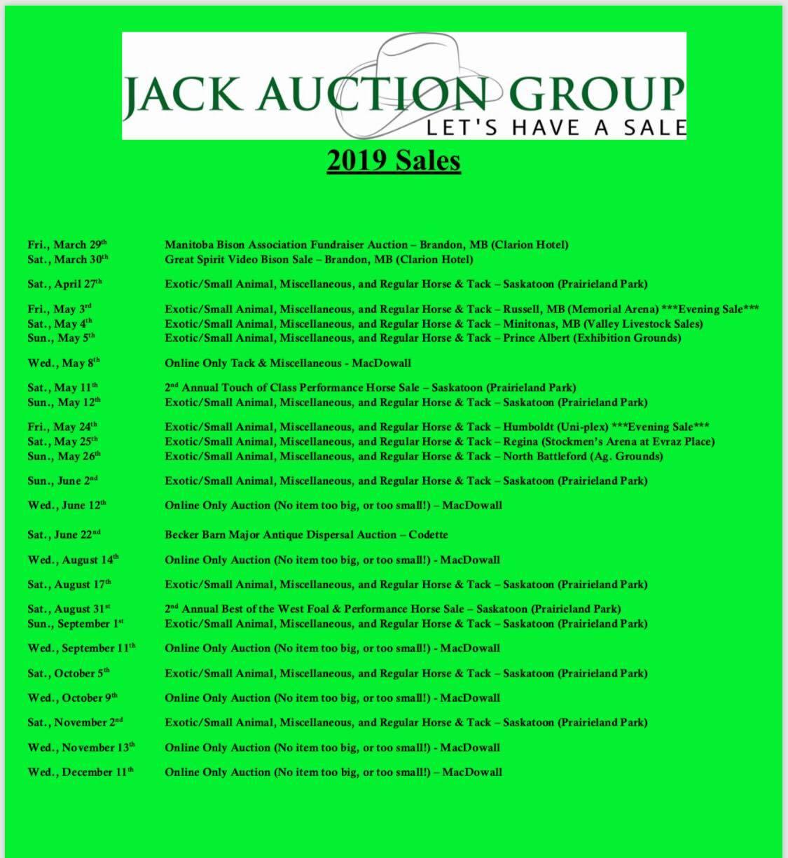 Jack Auction Group 2019 sales poster
