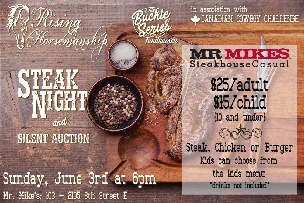 Rising Horsemanship Steak Night and Silent Auction